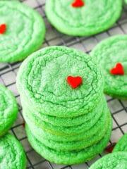stack of grinch cookies