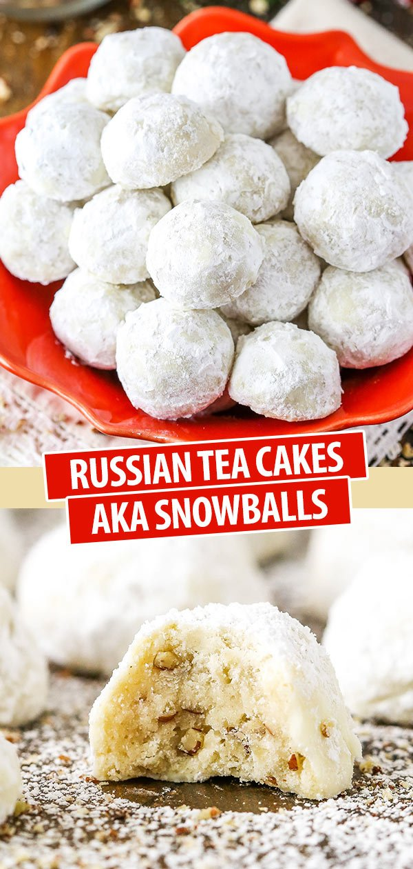 Russian Tea Cakes AKA Snowballs Cookies on a red plate