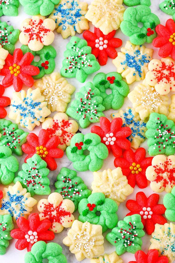 overhead image of spritz cookies