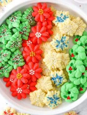 spritz cookies in dish