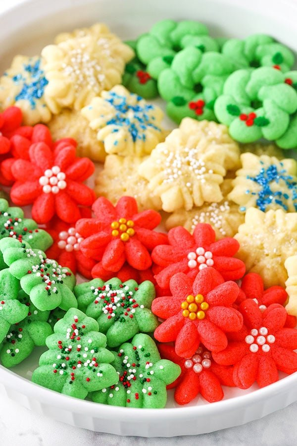 spritz cookies on platter