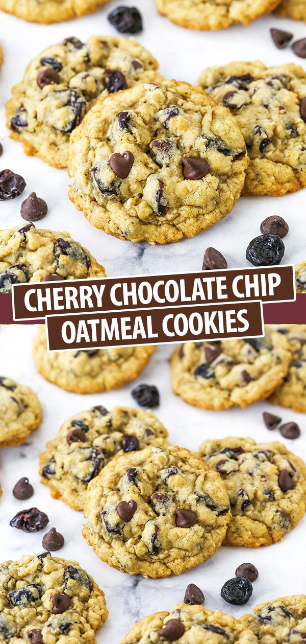 Pinterest image Cherry Chocolate Chip Oatmeal Cookies
