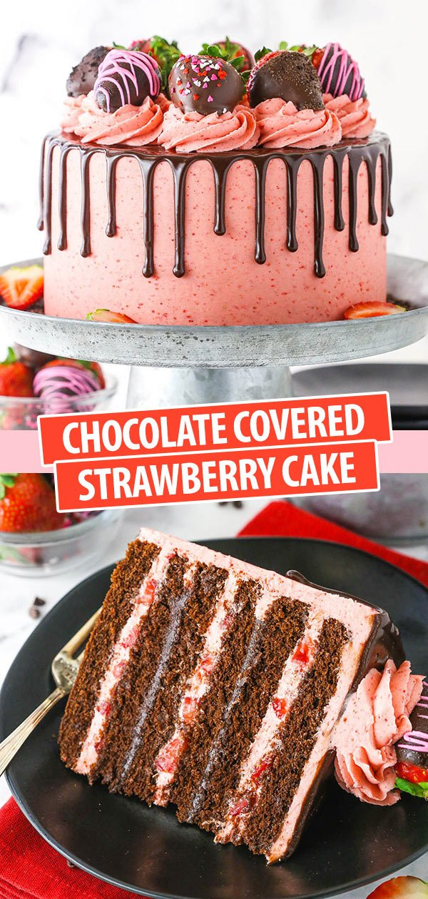 Pinterest image Chocolate Covered Strawberry Layer Cake