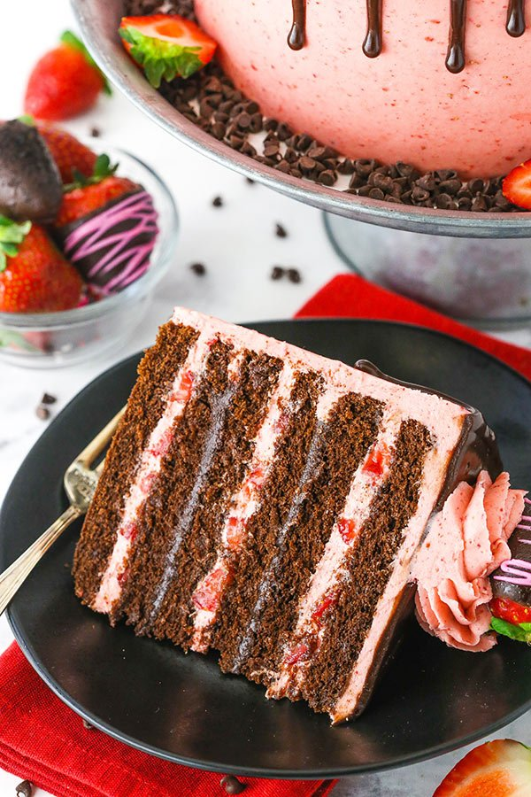 Chocolate Covered Strawberry Layer Cake slice close up