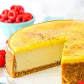creme brulee cheesecake with slice cut out