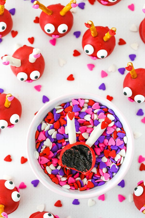 Love Bug Oreo Cookie Balls with bite taken