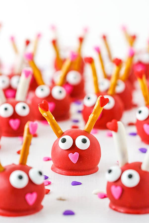 Love Bug Oreo Cookie Balls decorated