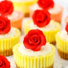 Photo of mini rose cheesecakes