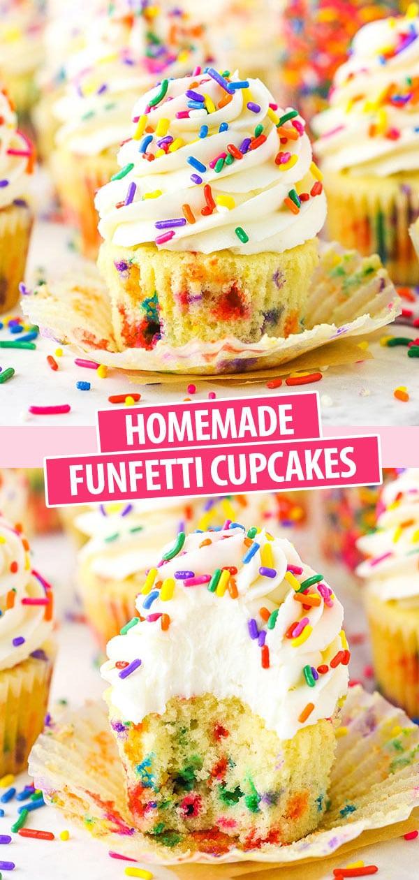 Pinterest image Homemade Funfetti Cupcakes