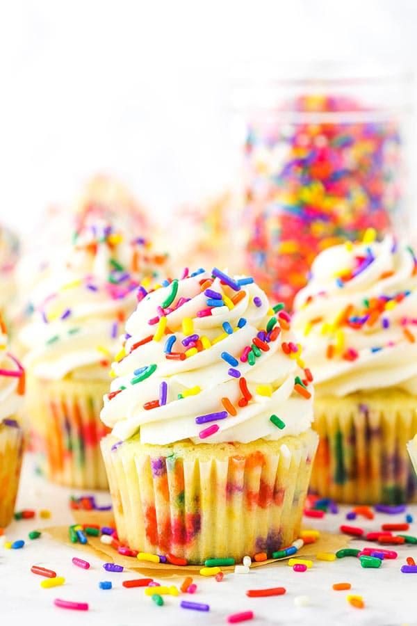Homemade Funfetti Cupcakes close up
