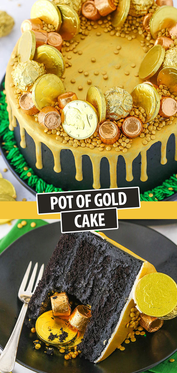 Pinterest image Pot of Gold Cake - perfect for St. Patricks Day!