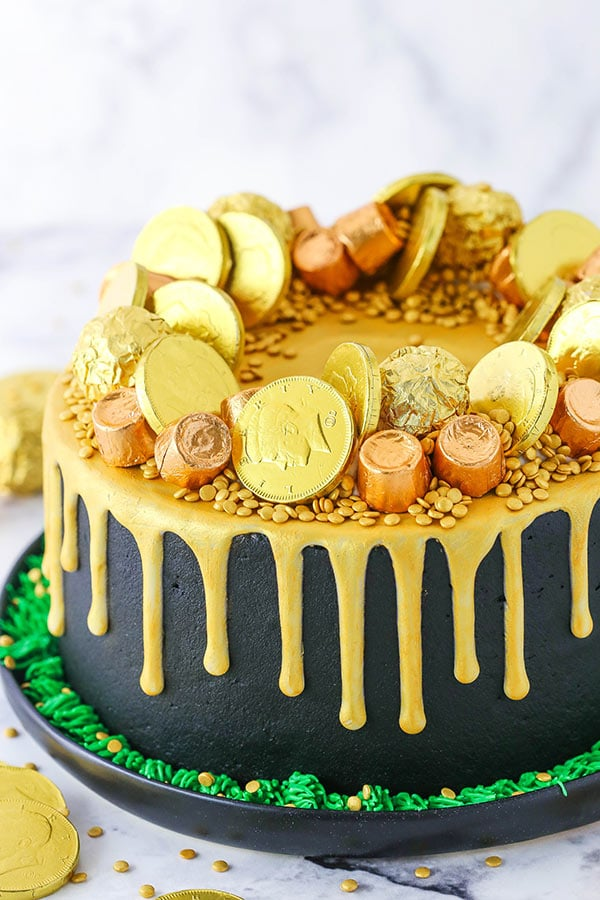 Pot of Gold Cake - perfect for St. Patricks Day side view
