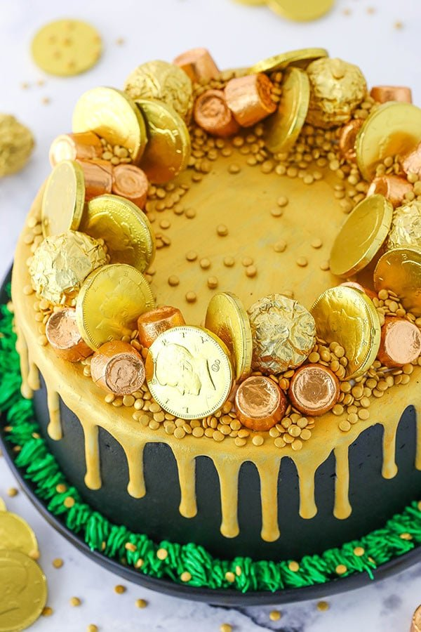 Pot of Gold Cake decorated overhead view