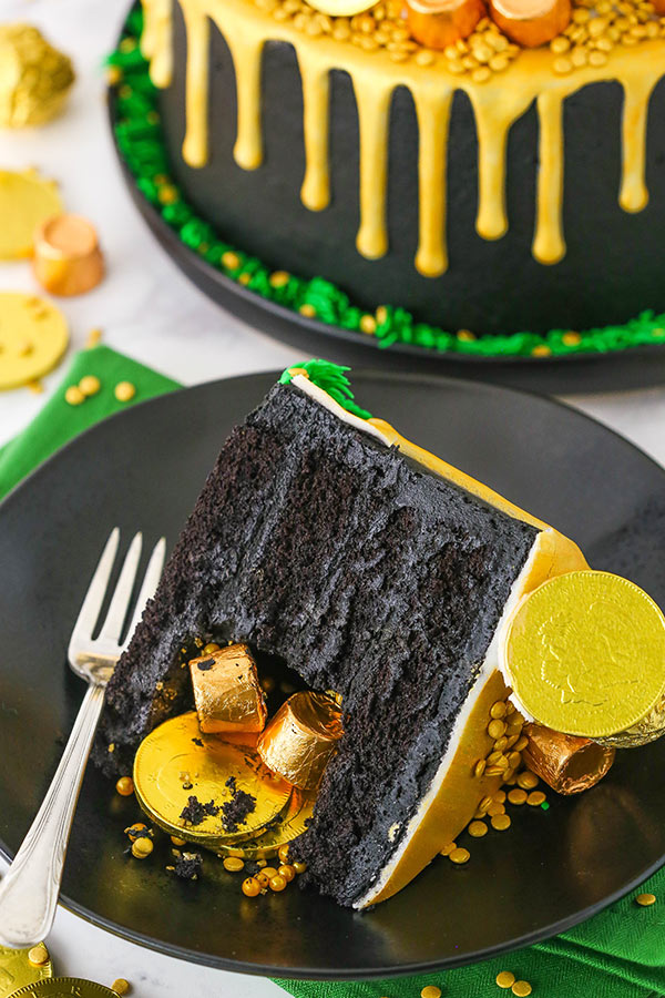 Pot of Gold Cake slice on black plate
