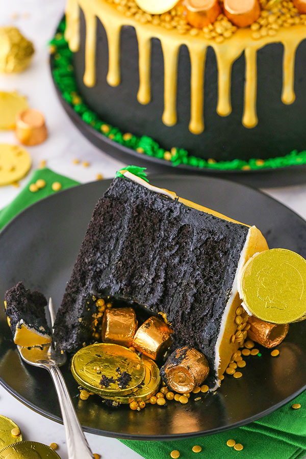 Pot of Gold Cake slice close up