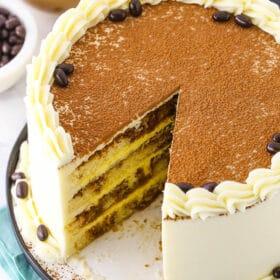 Photo of sliced tiramisu cake