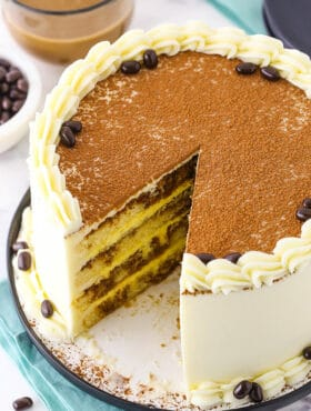 Photo of sliced tiramisu cake
