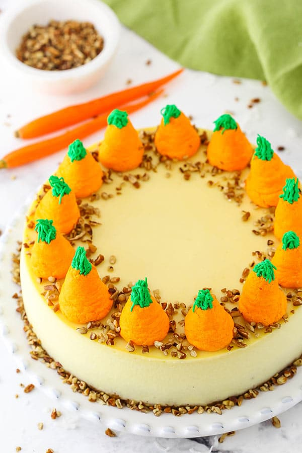 overhead image of carrot cake cheesecake