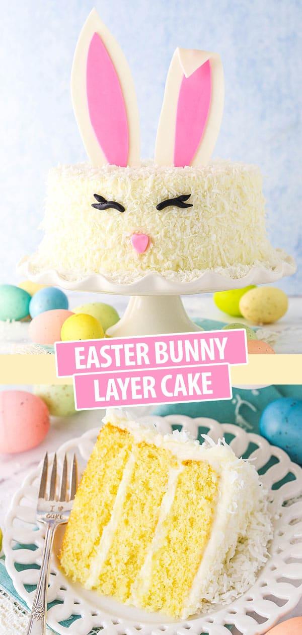 pinterest image for easter bunny cake