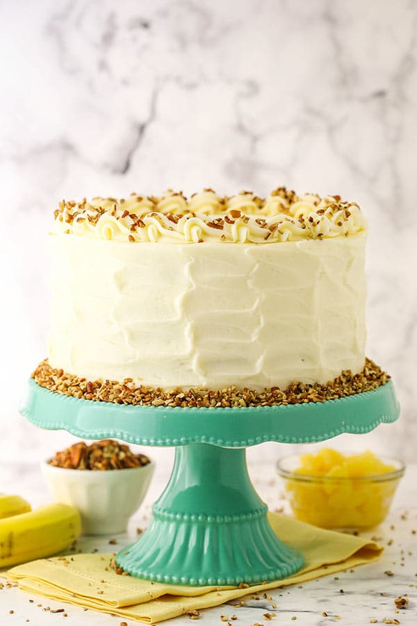 Hummingbird Cake on stand side view