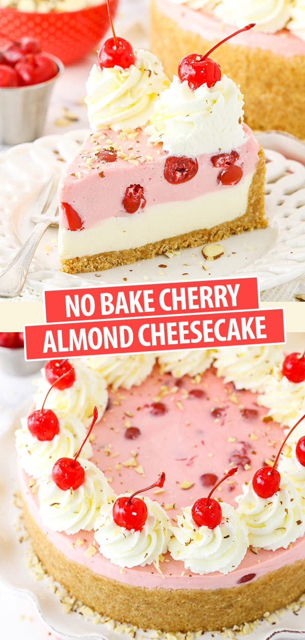 Pinterest image No Bake Cherry Almond Cheesecake