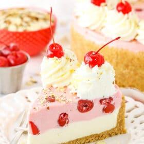 No Bake Cherry Almond Cheesecake