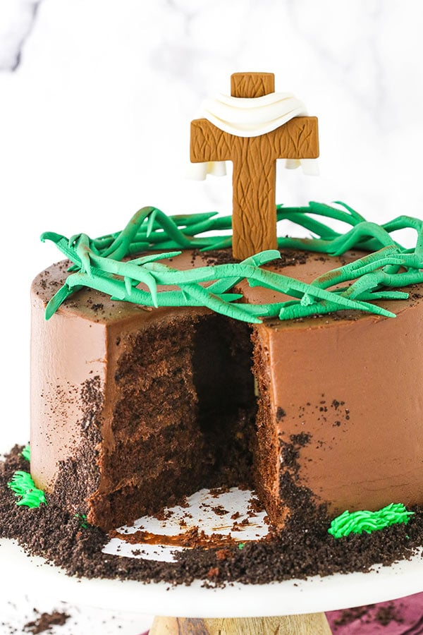 Resurrection cake with slice cut and hollow inside