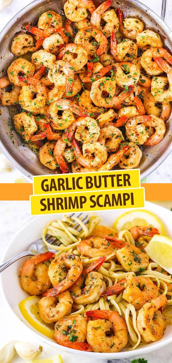 pinterest image for garlic butter shrimp scampi