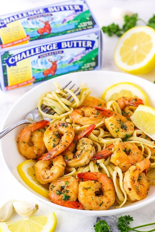 shrimp and linguine in a bowl