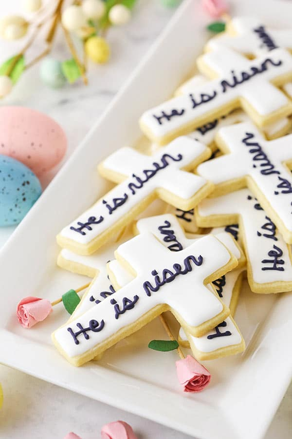 easter cross cutout cookies