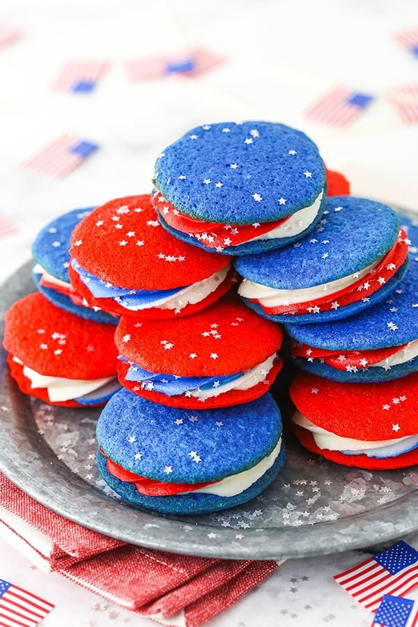 red, white and blue cookies on a silver plate - overhead image
