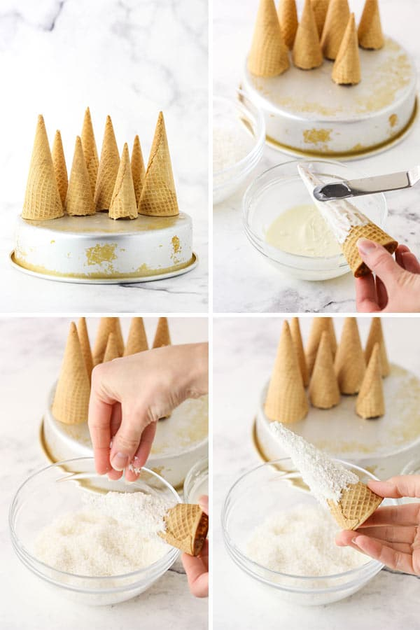 how to make snowy sugar cone mountains
