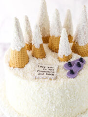 snowy mountain baby shower cake