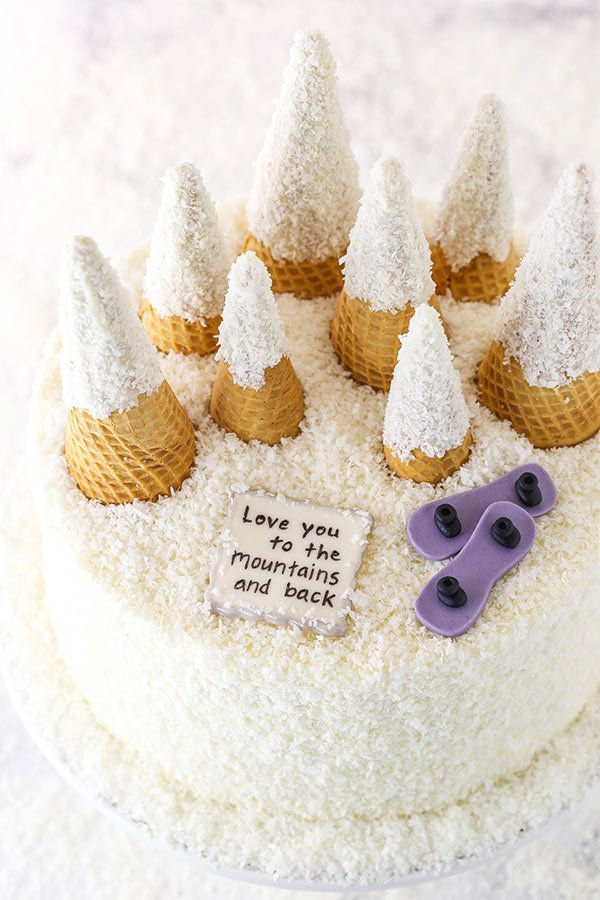 sugar cone snowy mountain cake