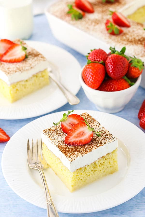 tres leches cake slice on plate