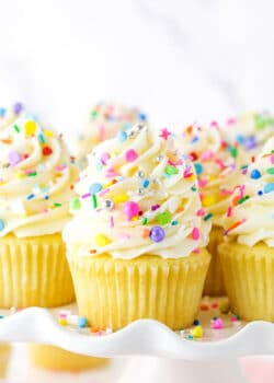 Close up of vanilla cupcakes with vanilla frosting and rainbow sprinkles