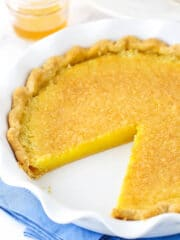 vinegar pie with a slice out
