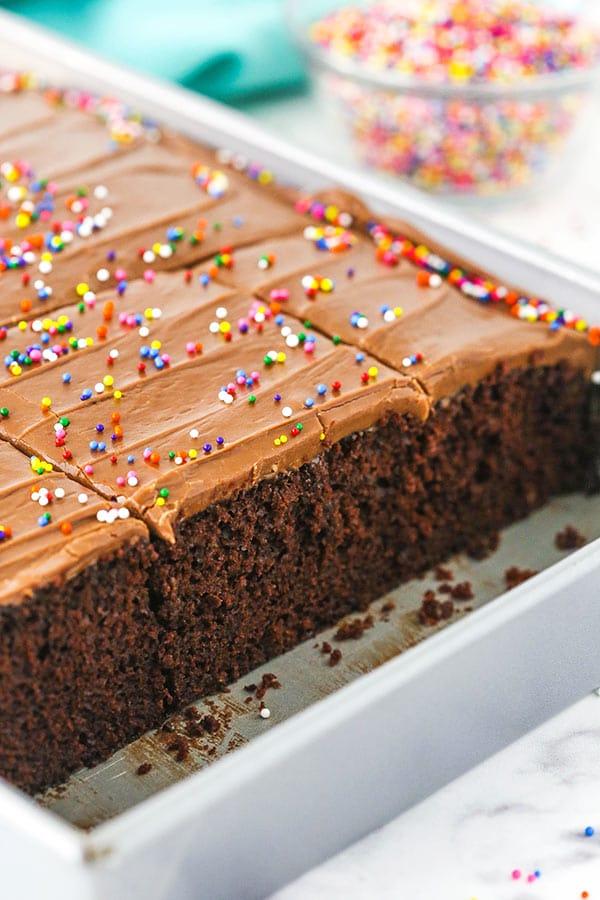 wacky cake in cake pan