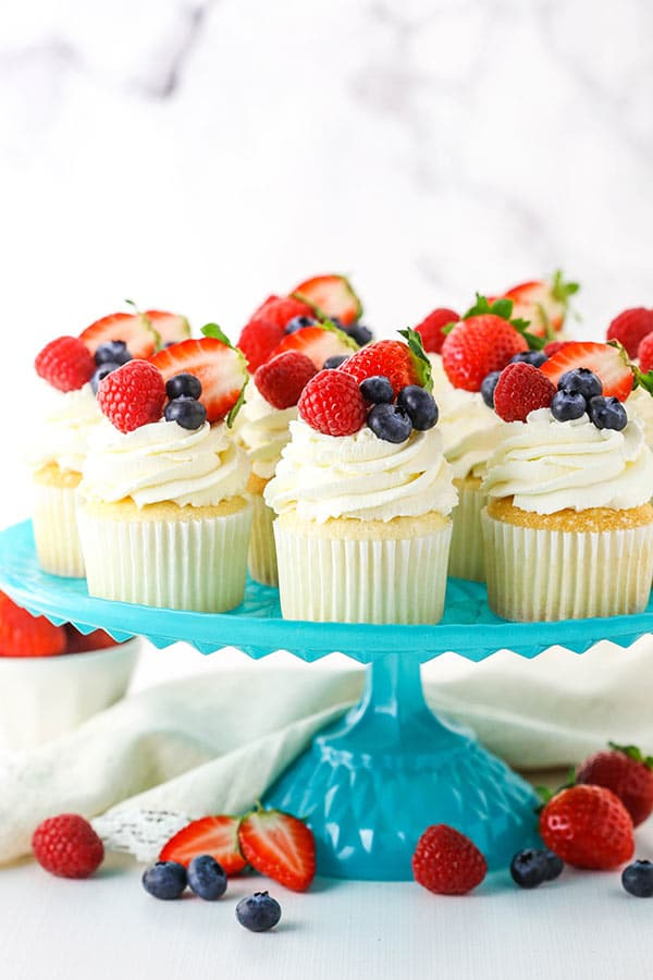 Fluffy Angel Food Cupcakes on a Cake Stand