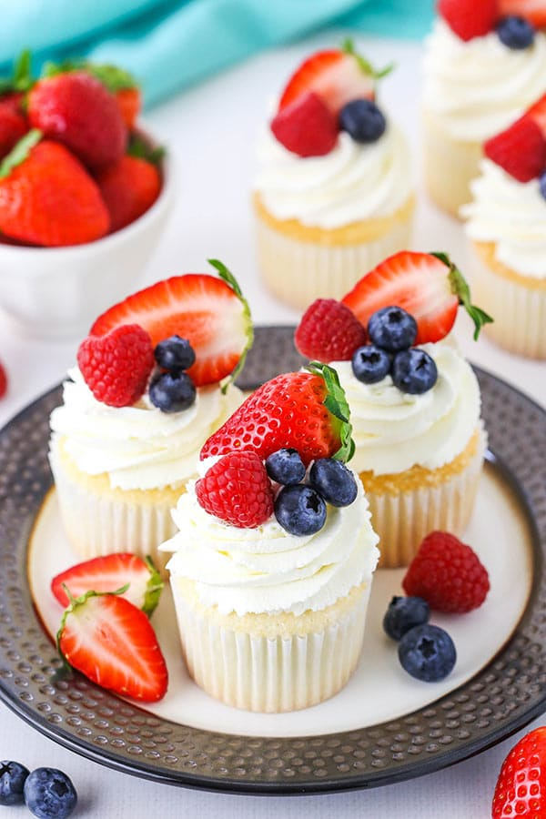 Three Fluffy Angel Food Cupcakes on a Plate