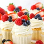 Fluffy Angel Food Cupcakes Topped with Fresh Berries