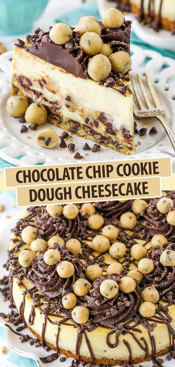 pinterest image for chocolate chip cookie dough cheesecake