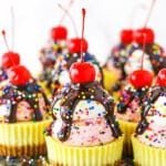 close up of ice cream sundae mini cheesecakes recipe