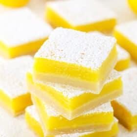 A Stack of The Best Lemon Bars