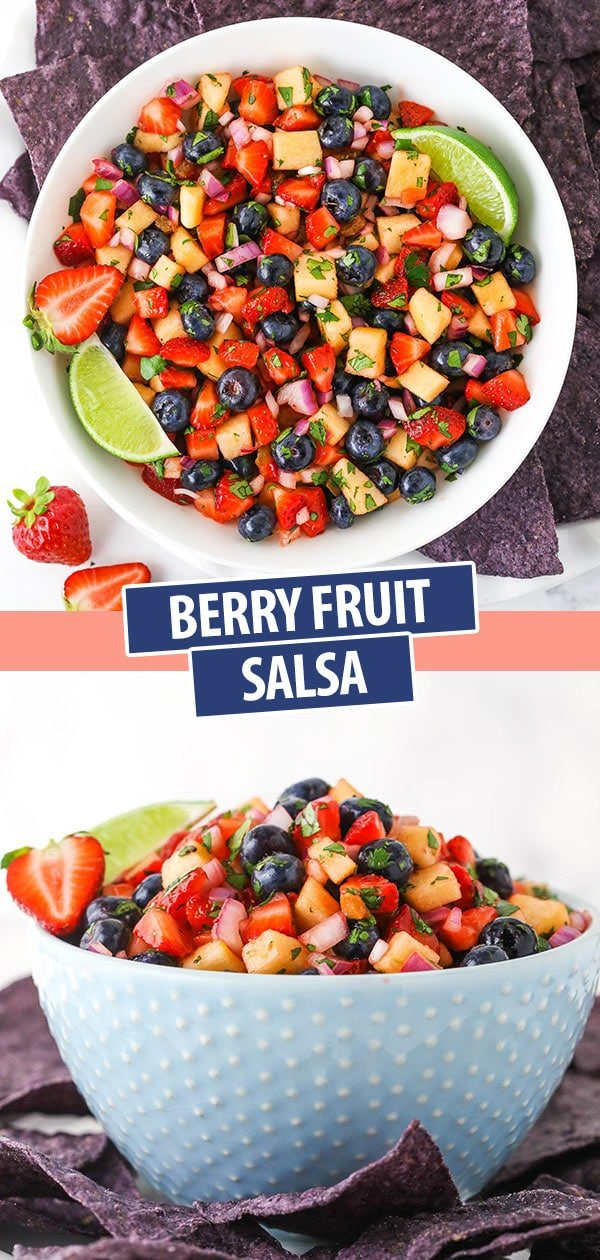 Pinterest image for berry fruit salsa