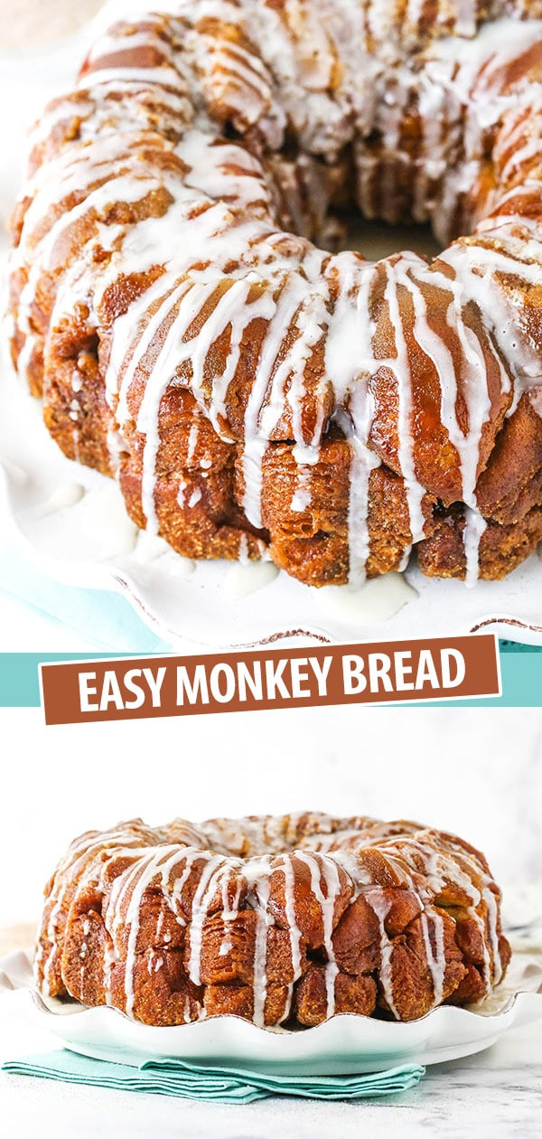 Pinterest collage showing a top and side view of homemade monkey bread.