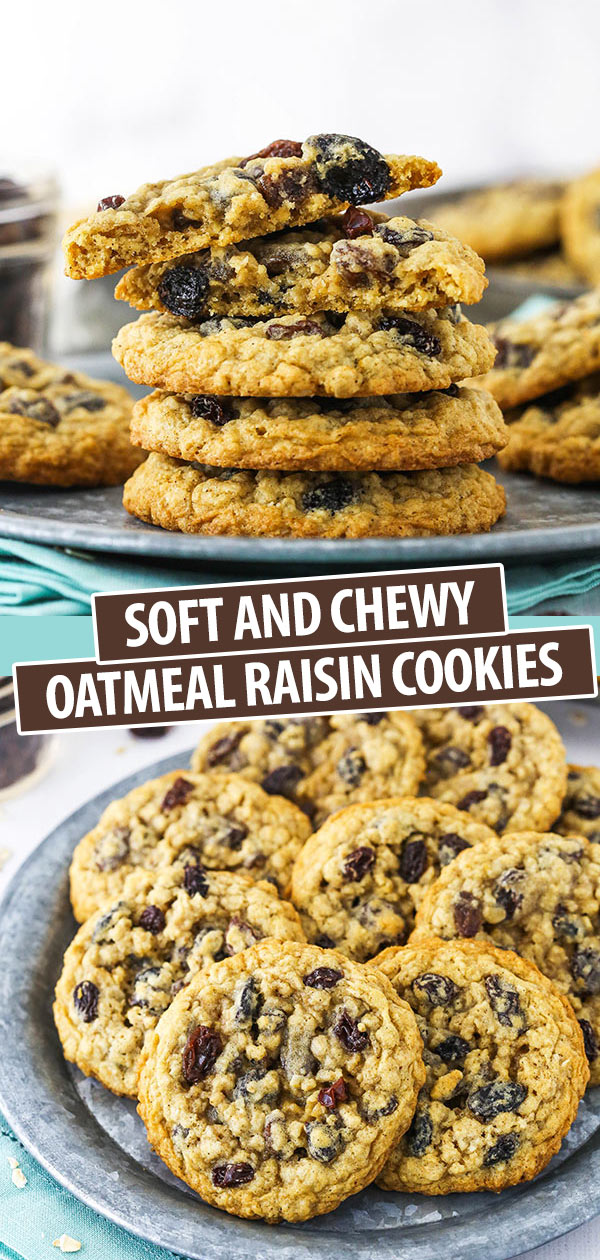 Pinterest image showing a plate of Oatmeal Raisin Cookies
