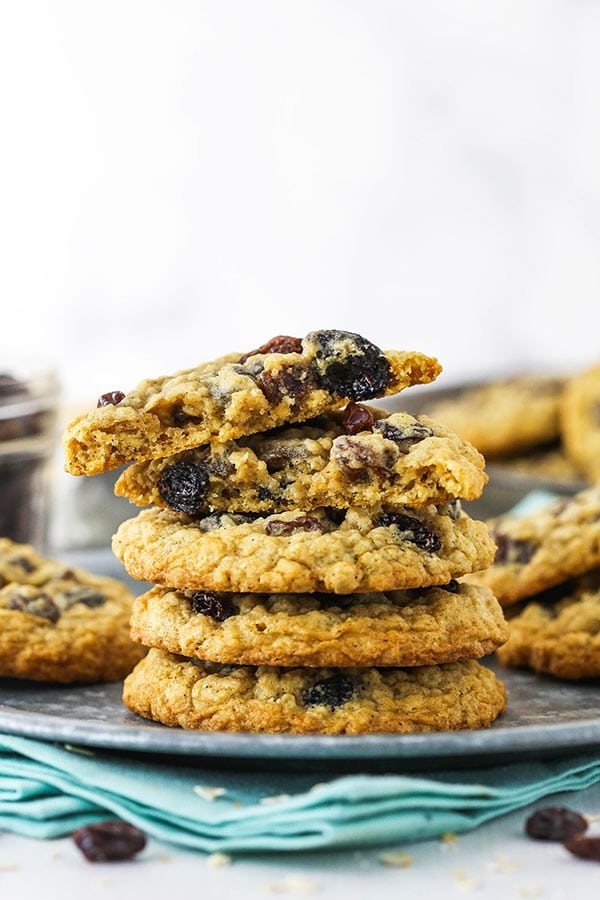 Side view showing a stack of oatmeal raisin cookies on a plate