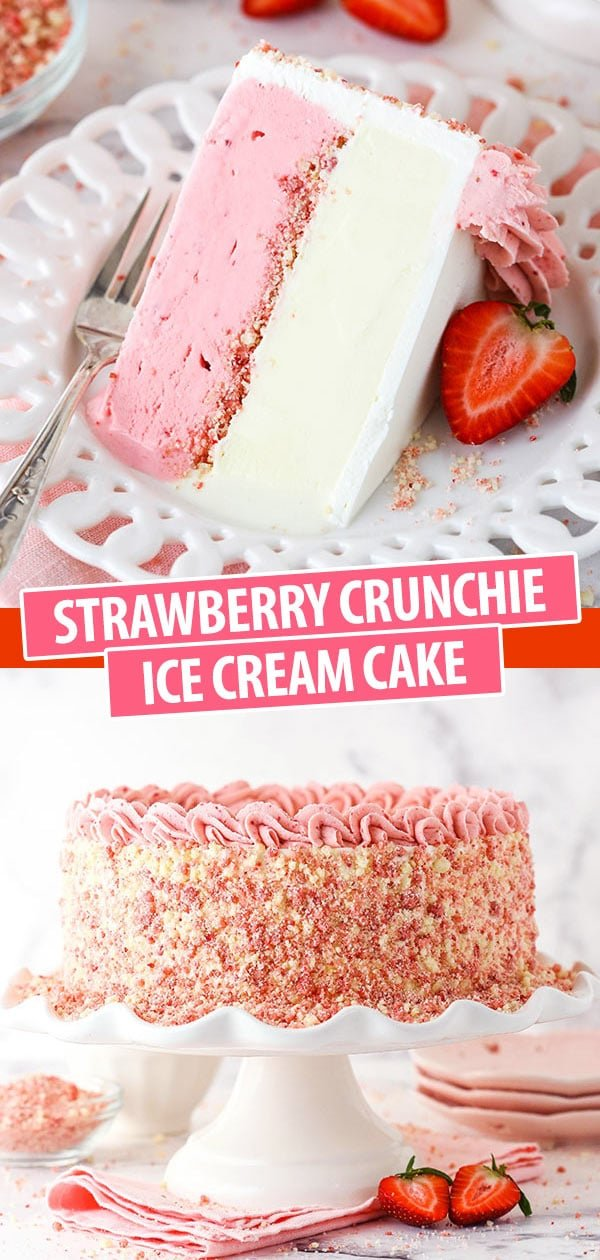 Pinterest image for strawberry crunchie ice cream cake