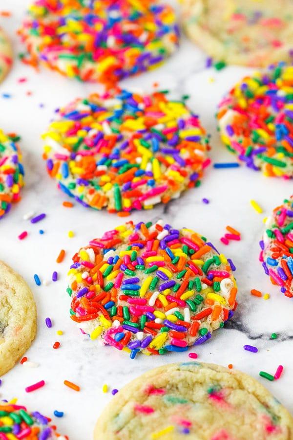 Sprinkle Sugar Cookies with Rainbow Sprinkles